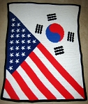American - South Korean Flag Hand Made Afghan