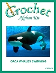 Orca Whales Swimming Crochet Afghan Kit