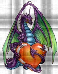 Crochet Pattern For Dragon Afghan : Dragon & Heart Crochet Pattern
