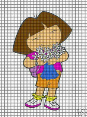 Knitting Pattern For Dora The Explorer Doll : Dora With Flowers Crochet Pattern