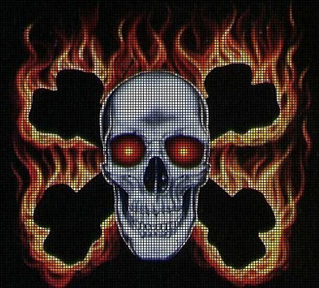 Scary Skull With Flames Crochet Pattern