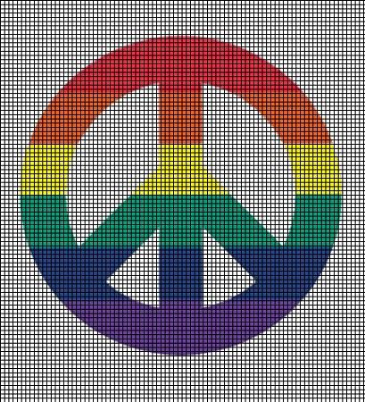 Colorful Peace Symbol Crochet Pattern