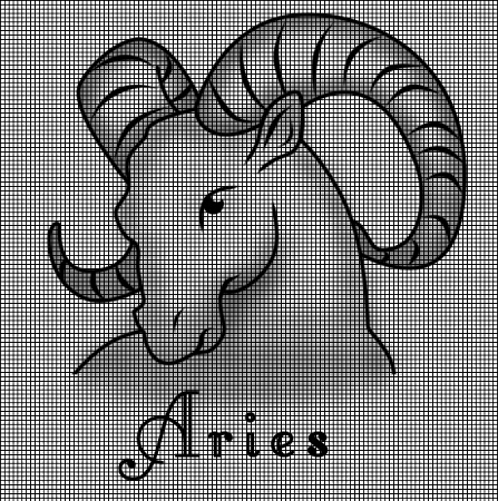 Crochet Patterns For Zodiac Signs : ... Crochet Graph Patterns > Zodiac Signs > Aries Symbol Crochet Pattern