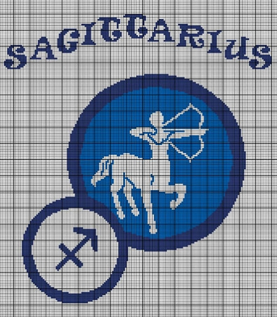 Crochet Patterns For Zodiac Signs : > Crochet Graph Patterns > Zodiac Signs > Sagittarius Sign Crochet ...