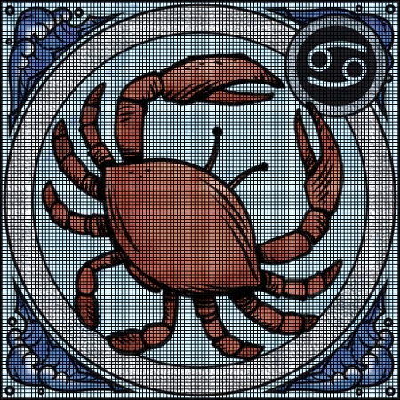 ... Crochet Graph Patterns > Zodiac Signs > Zodiac Cancer Crochet Pattern