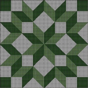 Green & White Blocks Crochet Pattern