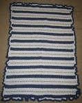 Baby Blue & White Stripes Hand Made Afghan