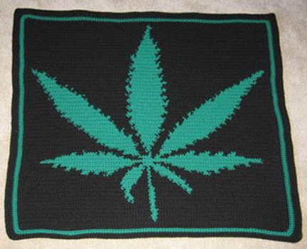 Black Leaf Hand Made Afghan
