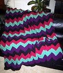 Colorful Ripple Hand Made Afghan