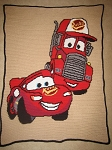 Cars Lightning McQueen & Mac Hand Made Afghan