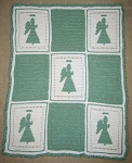 Green & White Angels Hand Made Afghan