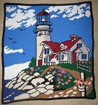 Lighthouse Scene Hand Made Afghan