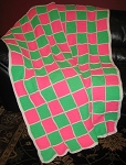 Pink & Green Checkerboard Hand Made Afghan