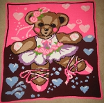 Teddy Bear Ballerina Hand Made Afghan