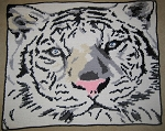 White Tiger Face Hand Made Afghan