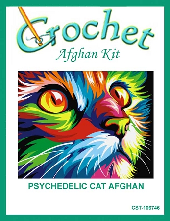 Psychedelic Cat Crochet Afghan Kit