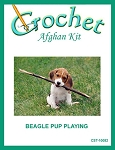 Beagle Pup Playing Crochet Afghan Kit