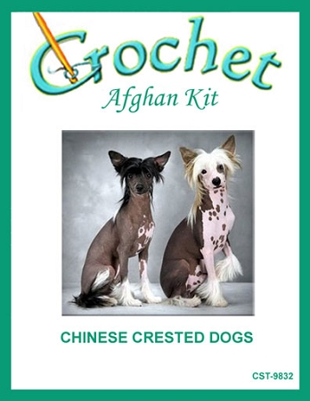 Chinese Crested Dogs Crochet Afghan Kit
