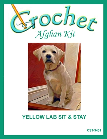 Yellow Lab Sit & Stay Crochet Afghan Kit