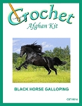 Black Horse Galloping Crochet Afghan Kit