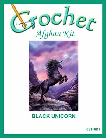 Black Unicorn Crochet Afghan Kit