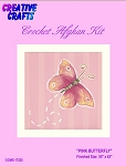 Pink Butterfly Crochet Afghan Kit
