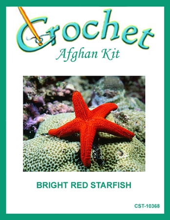 Bright Red Starfish Crochet Afghan Kit