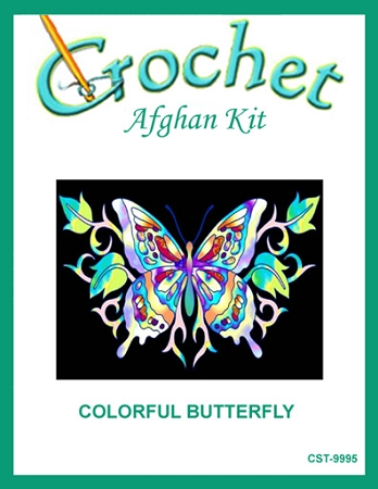 Colorful Butterfly Crochet Afghan Kit