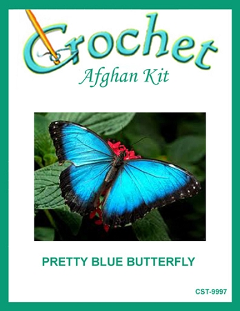 Pretty Blue Butterfly Crochet Afghan Kit