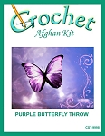 Purple Butterfly Throw Crochet Afghan Kit