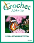 Red Lacewing Butterfly Crochet Afghan Kit