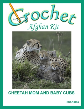 Cheetah Mom And Baby Cubs Crochet Afghan Kit