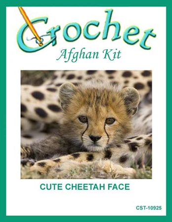 Cute Cheetah Face Crochet Afghan Kit