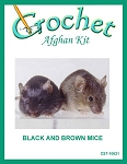 Black And Brown Mice Crochet Afghan Kit