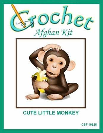 Cute Little Monkey Crochet Afghan Kit