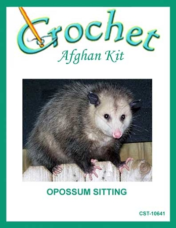 Opossum Sitting Crochet Afghan Kit