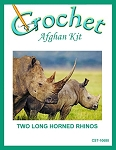 Two Long Horned Rhinos Crochet Afghan Kit
