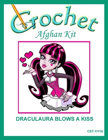 Draculaura Blows A Kiss Crochet Afghan Kit