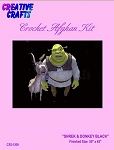 Shrek & Donkey Black Crochet Afghan Kit