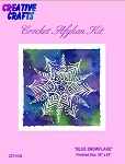 Blue Snowflake Crochet Afghan Kit
