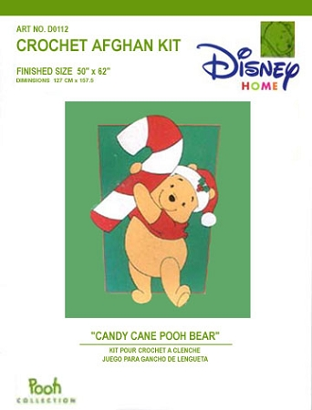 Candy Cane Pooh Bear Crochet Afghan Kit