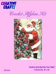 Santa Decorates The Tree Crochet Afghan Kit