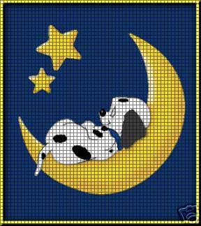 Puppy On The Moon Crochet Pattern