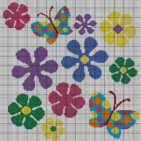 Big Butterfly & Retro Flowers Crochet Pattern