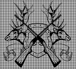 Crossed Gun Elk Heads Crochet Pattern