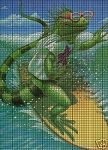 Iguana On A Surfboard Crochet Pattern