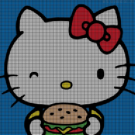 Hello Kitty Eats Hamburgers Crochet Pattern