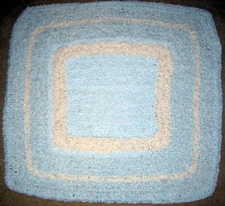 Baby Blue & White Square Hand Made Afghan