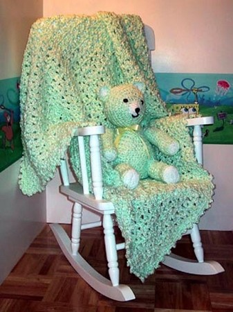 Green Pastels Hand Made Afghan & Teddy Bear