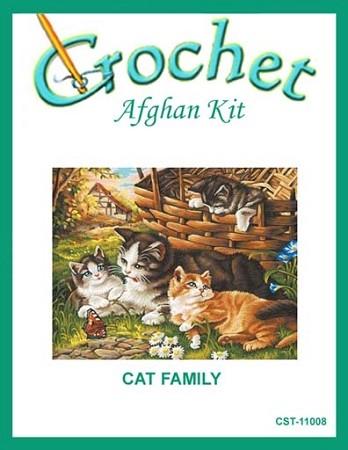 Cat Family Crochet Afghan Kit
